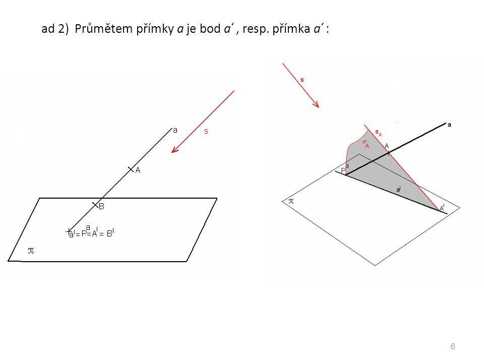 ad 2) Průmětem přímky a je bod a' , resp. přímka a' :