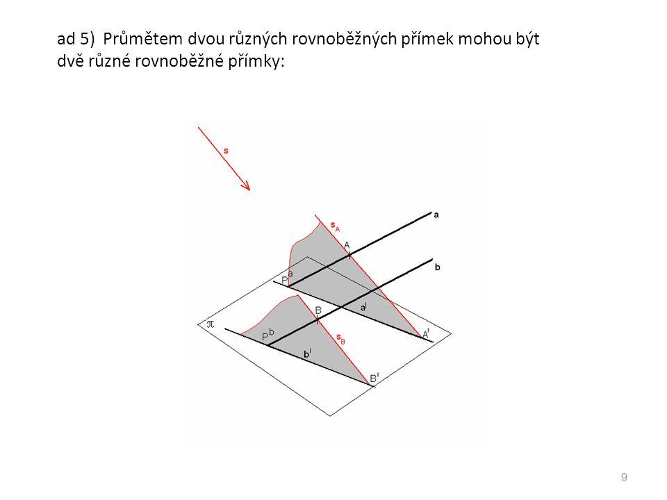 ad 5) Průmětem dvou různých rovnoběžných přímek mohou být dvě různé rovnoběžné přímky: