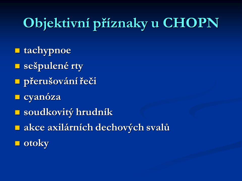 Objektivní příznaky u CHOPN