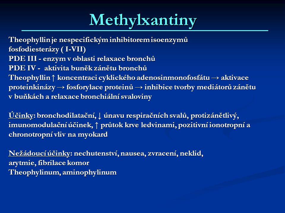 Methylxantiny Theophyllin je nespecifickým inhibitorem isoenzymů