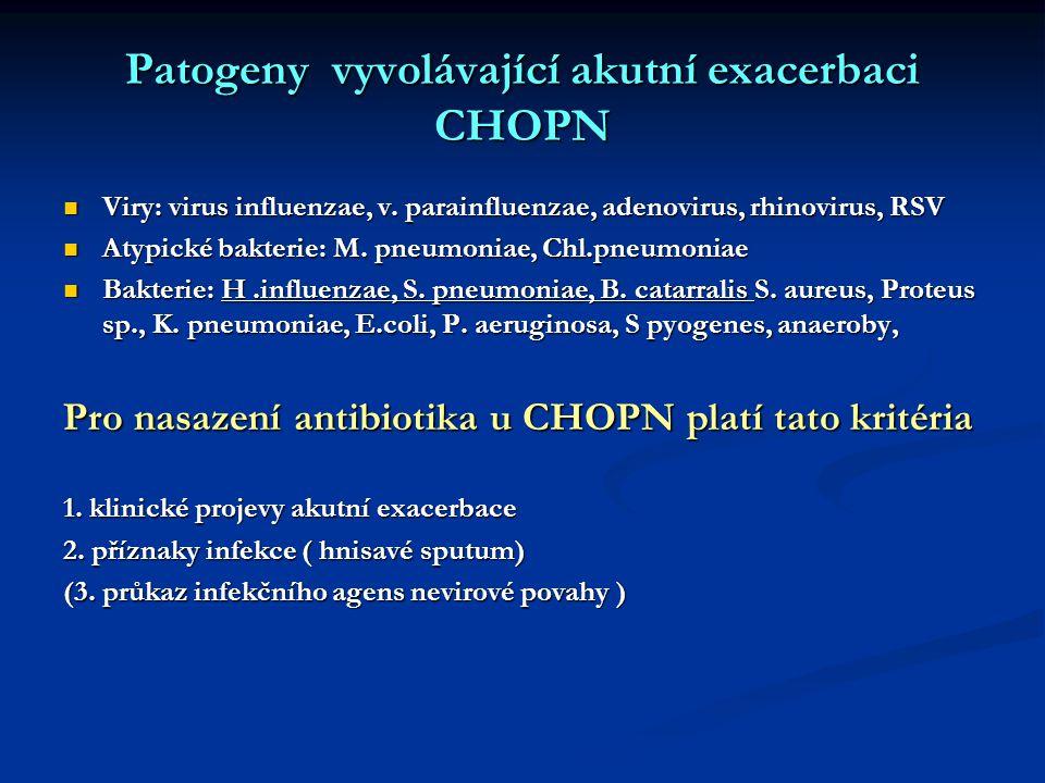 Patogeny vyvolávající akutní exacerbaci CHOPN