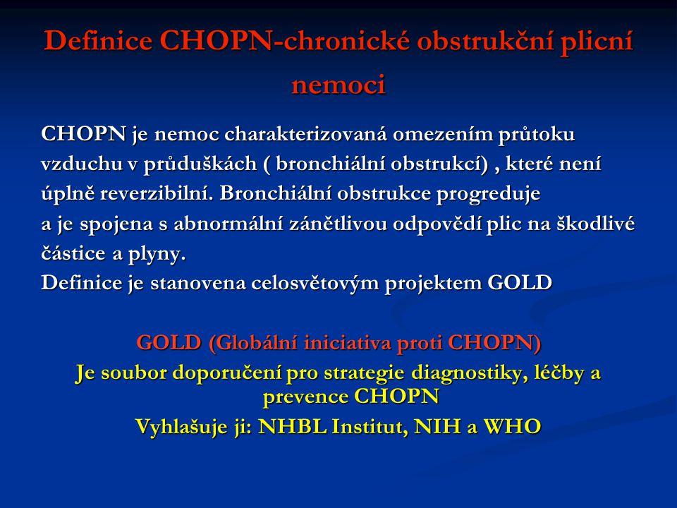 Definice CHOPN-chronické obstrukční plicní nemoci