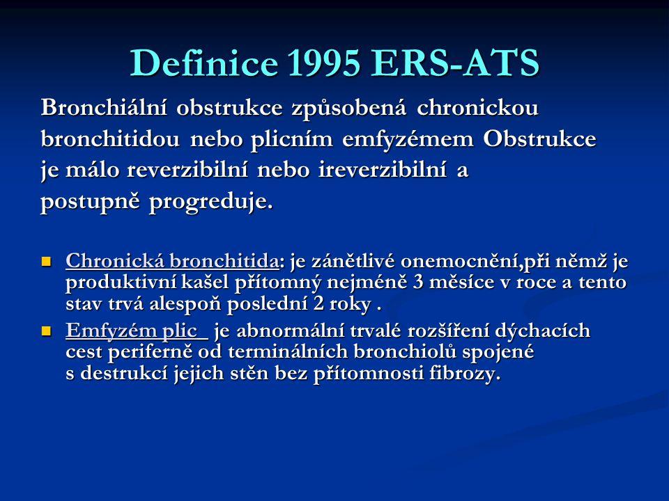 Definice 1995 ERS-ATS Bronchiální obstrukce způsobená chronickou