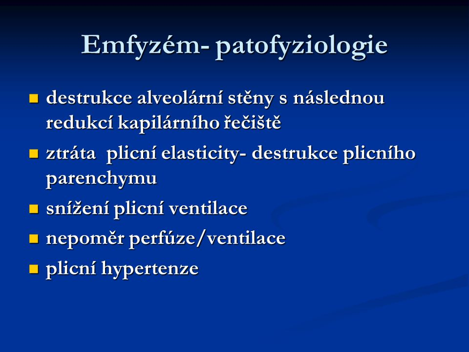 Emfyzém- patofyziologie