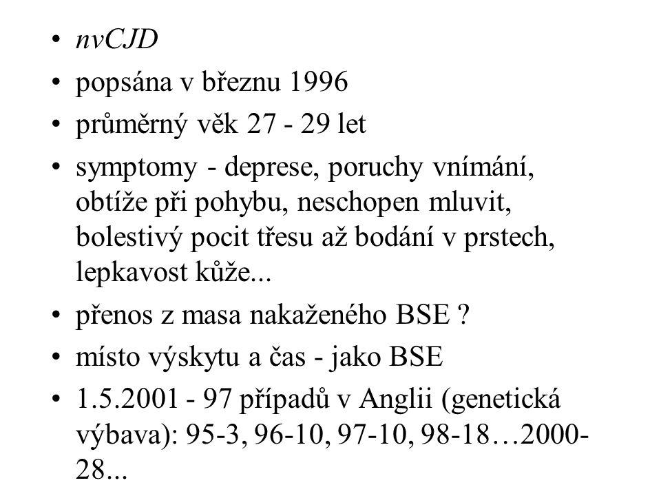 nvCJD popsána v březnu 1996. průměrný věk 27 - 29 let.