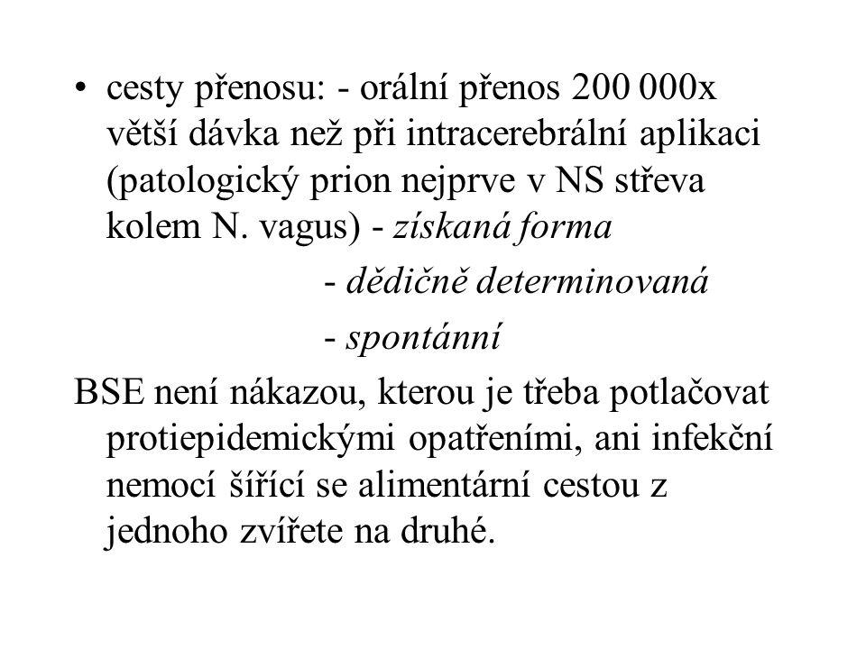 cesty přenosu: - orální přenos 200 000x větší dávka než při intracerebrální aplikaci (patologický prion nejprve v NS střeva kolem N. vagus) - získaná forma