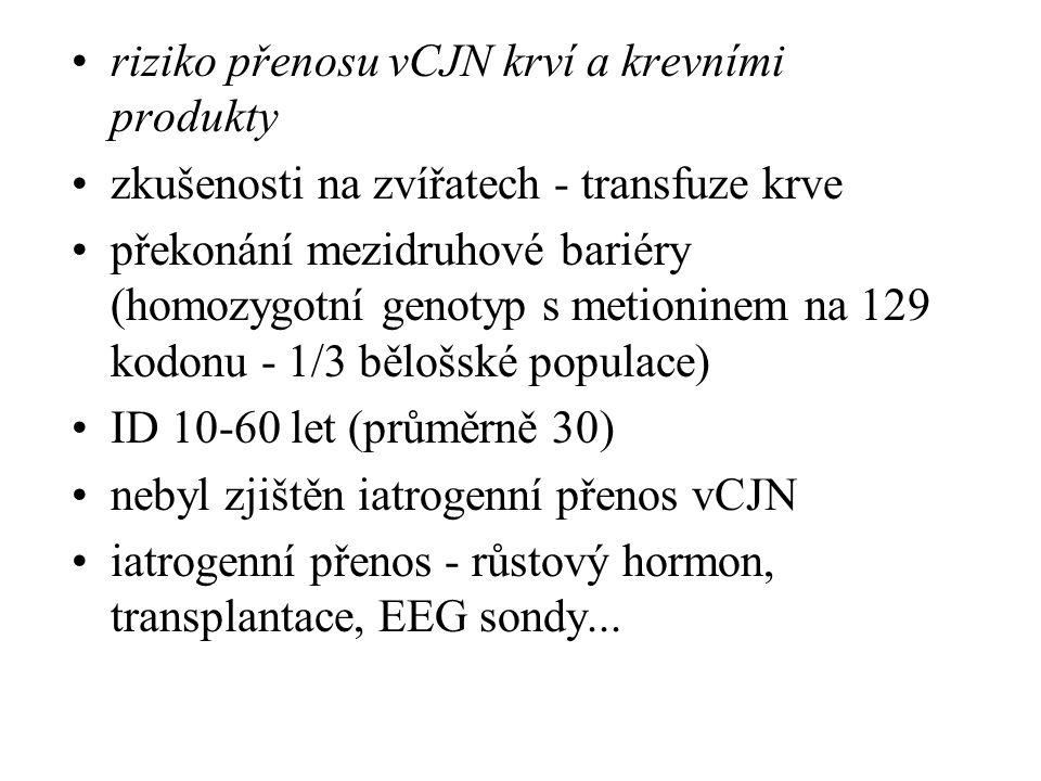riziko přenosu vCJN krví a krevními produkty