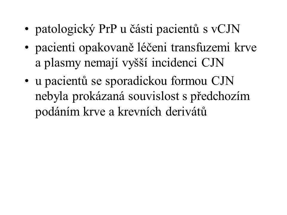 patologický PrP u části pacientů s vCJN