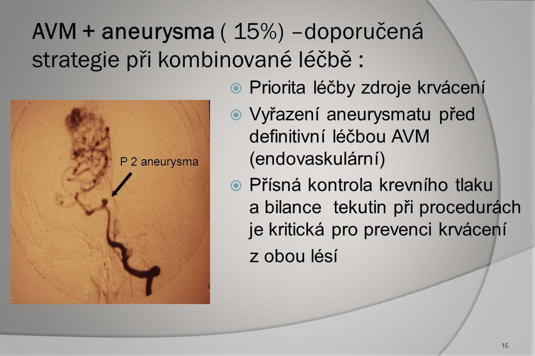 AVM + aneurysma ( 15%) –doporučená strategie při kombinované léčbě :