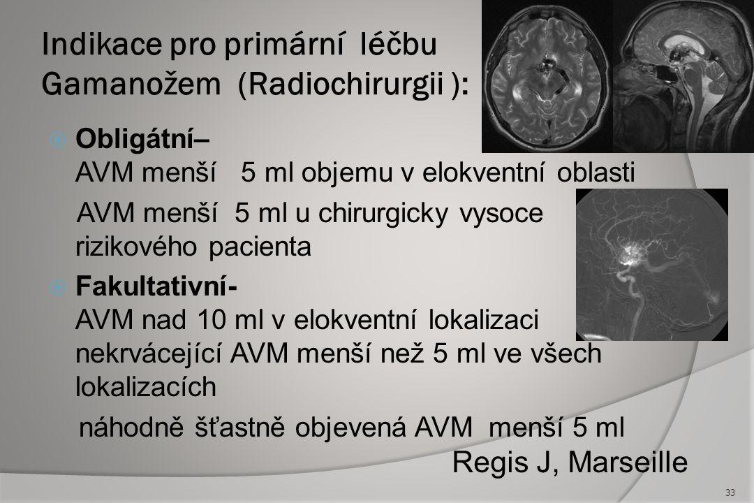 Indikace pro primární léčbu Gamanožem (Radiochirurgii ):