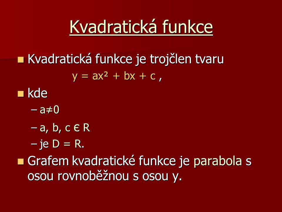 Kvadratická funkce Kvadratická funkce je trojčlen tvaru kde