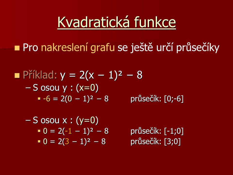 Kvadratická funkce Pro nakreslení grafu se ještě určí průsečíky
