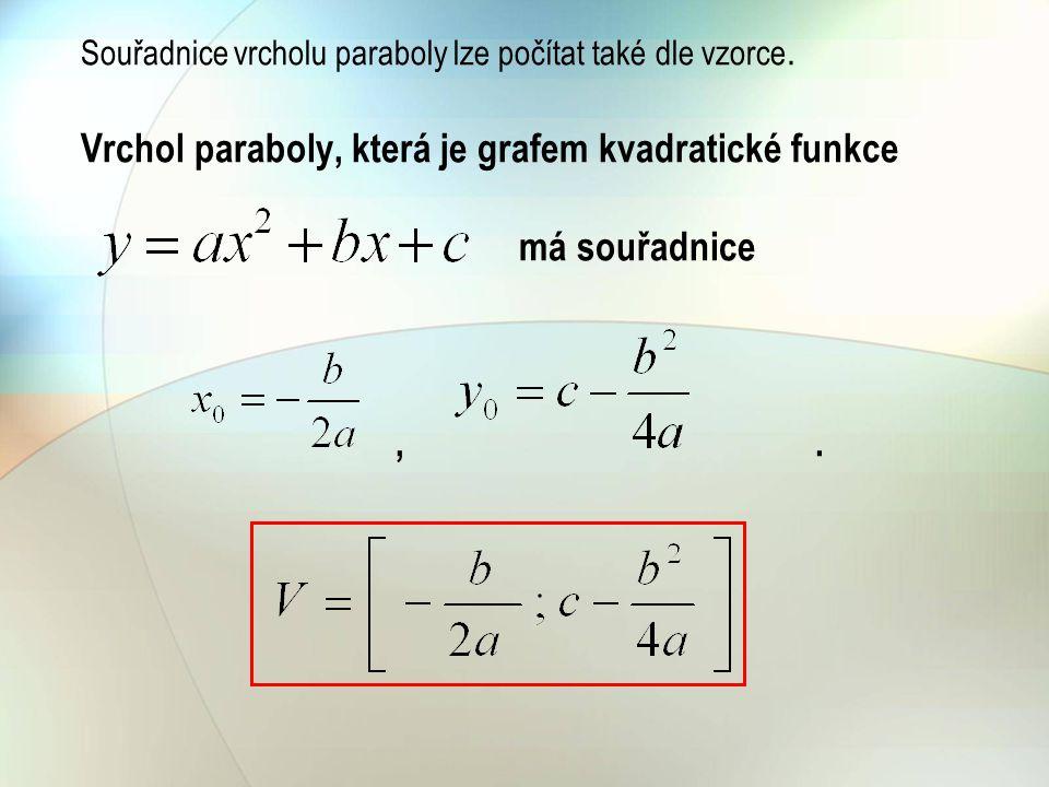 Souřadnice vrcholu paraboly lze počítat také dle vzorce