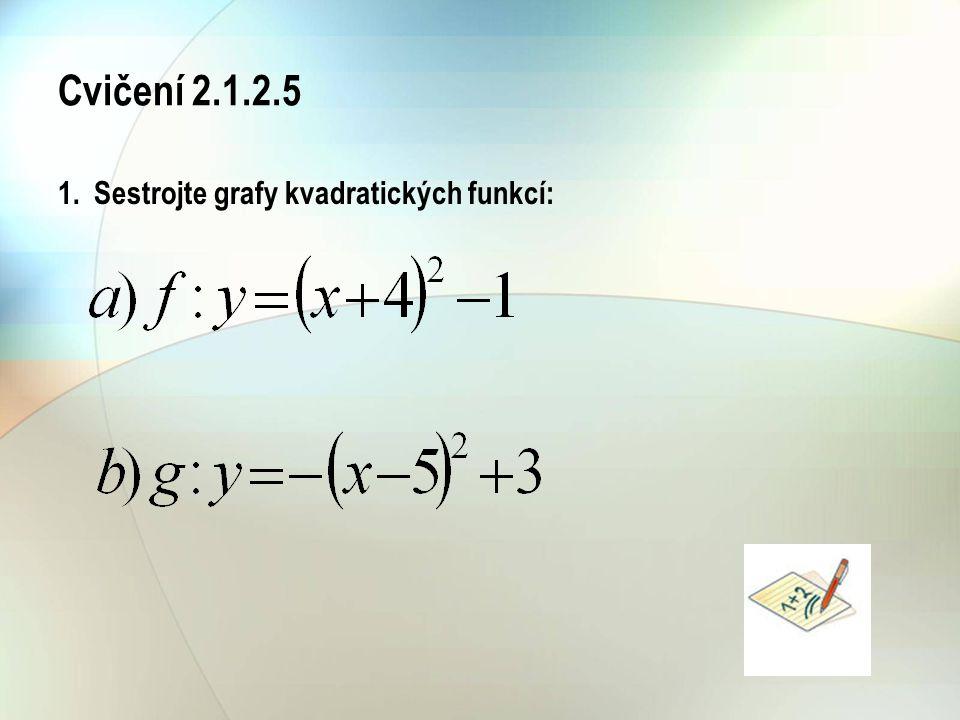Cvičení 2.1.2.5 1. Sestrojte grafy kvadratických funkcí: