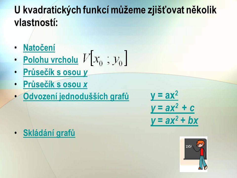 U kvadratických funkcí můžeme zjišťovat několik vlastností: