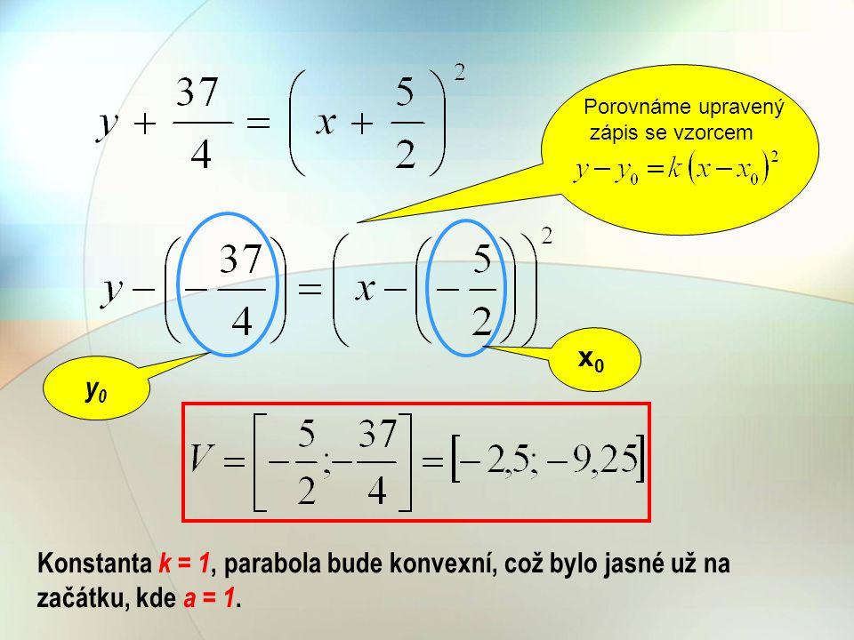 Porovnáme upravený zápis se vzorcem. x0. y0.