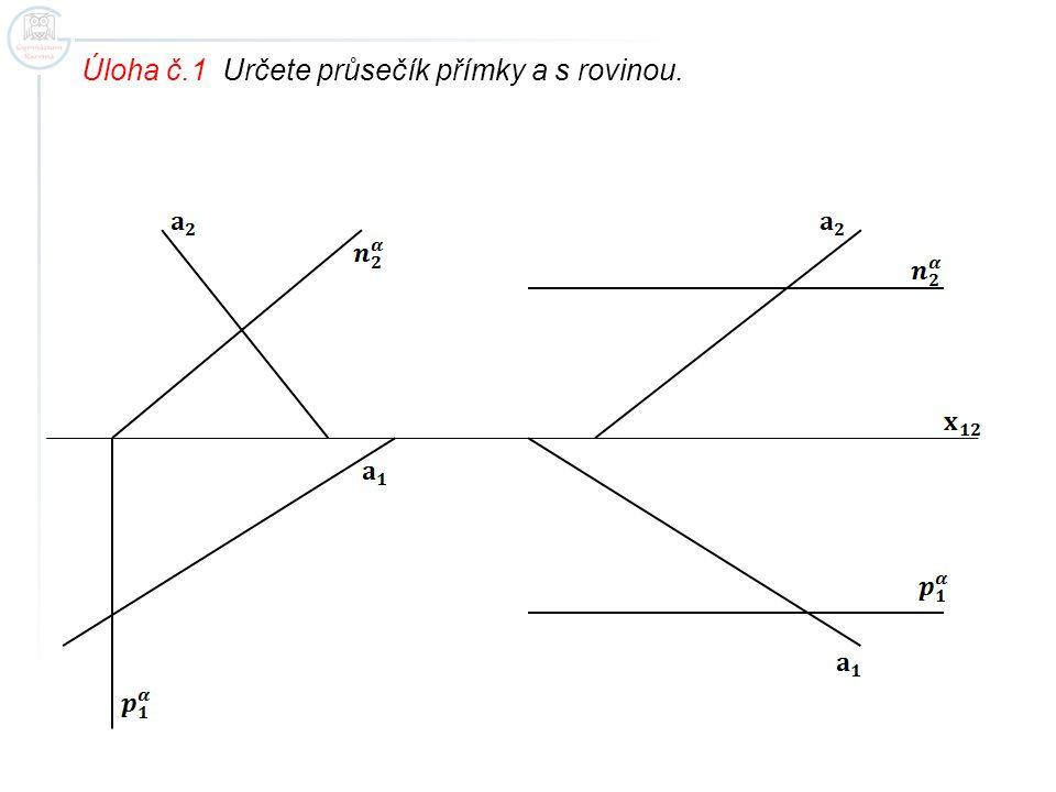 Úloha č.1 Určete průsečík přímky a s rovinou.