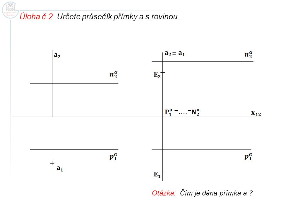 Úloha č.2 Určete průsečík přímky a s rovinou.