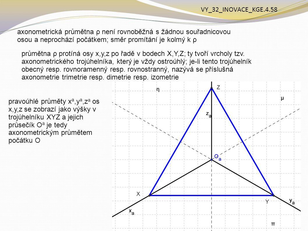 VY_32_INOVACE_KGE.4.58 axonometrická průmětna ρ není rovnoběžná s žádnou souřadnicovou osou a neprochází počátkem; směr promítání je kolmý k ρ.