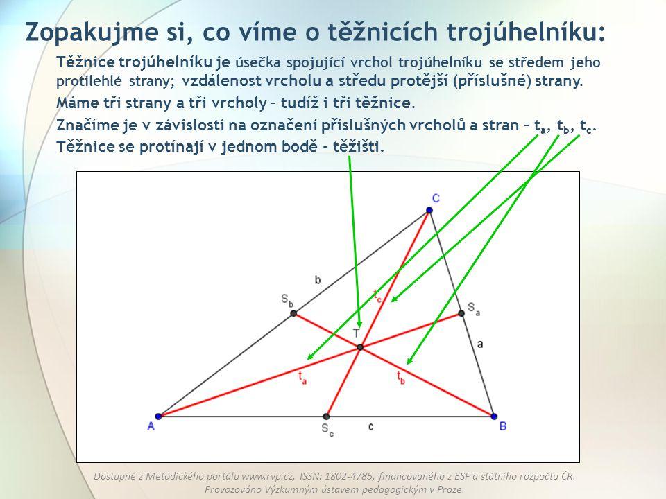 Zopakujme si, co víme o těžnicích trojúhelníku: