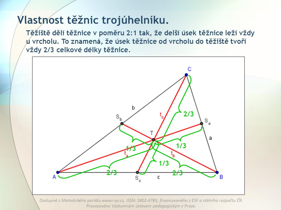 Vlastnost těžnic trojúhelníku.