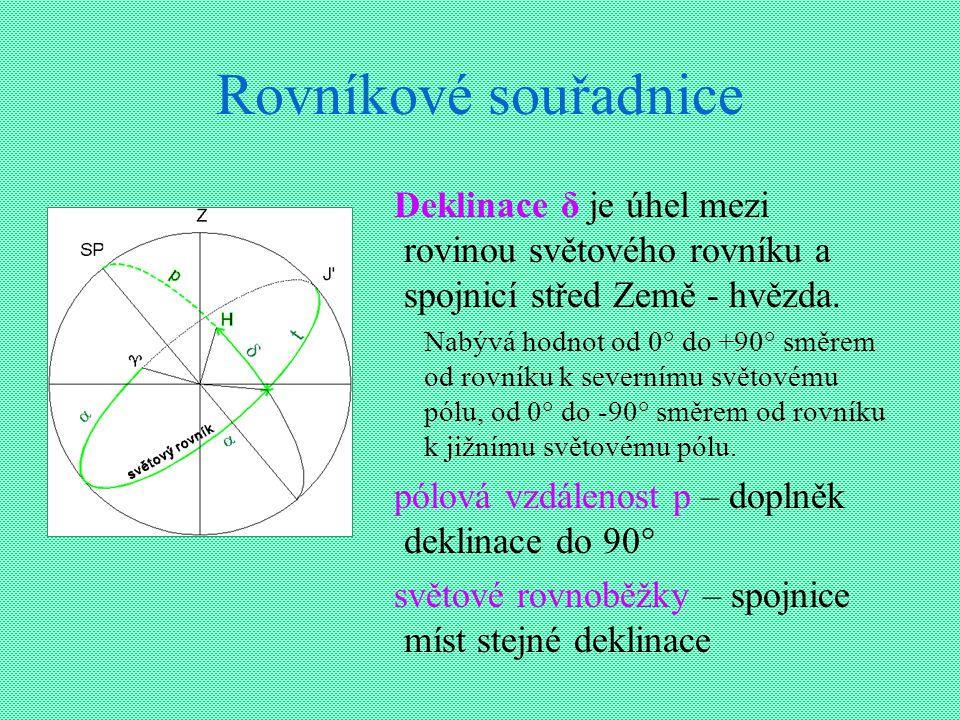 Rovníkové souřadnice Deklinace δ je úhel mezi rovinou světového rovníku a spojnicí střed Země - hvězda.