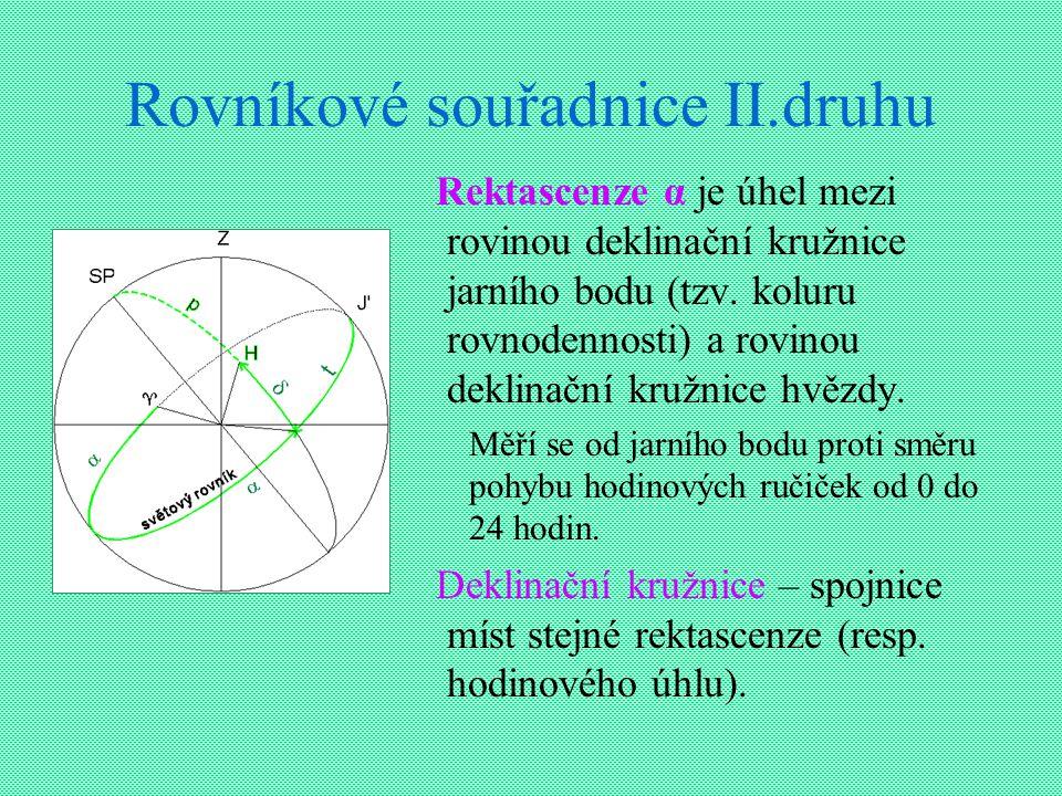 Rovníkové souřadnice II.druhu