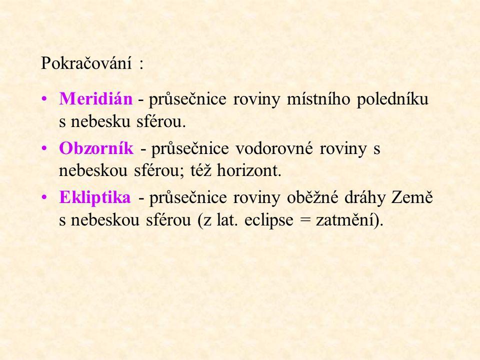 Pokračování : Meridián - průsečnice roviny místního poledníku s nebesku sférou.