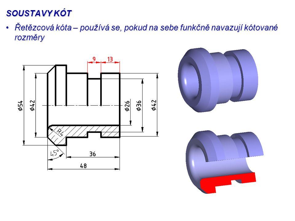 SOUSTAVY KÓT Řetězcová kóta – používá se, pokud na sebe funkčně navazují kótované rozměry