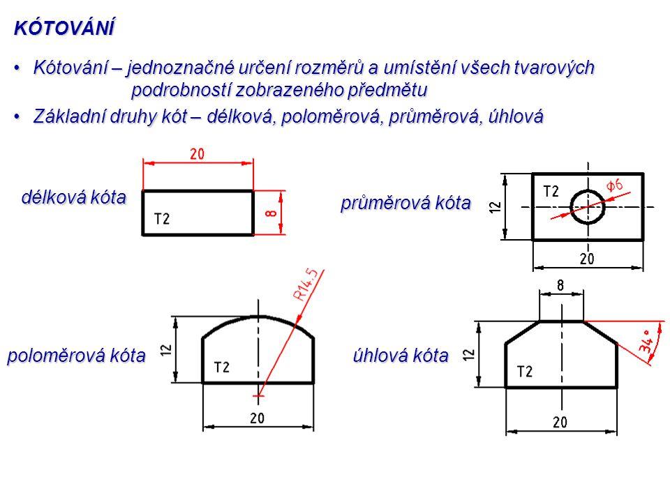 KÓTOVÁNÍ Kótování – jednoznačné určení rozměrů a umístění všech tvarových podrobností zobrazeného předmětu.