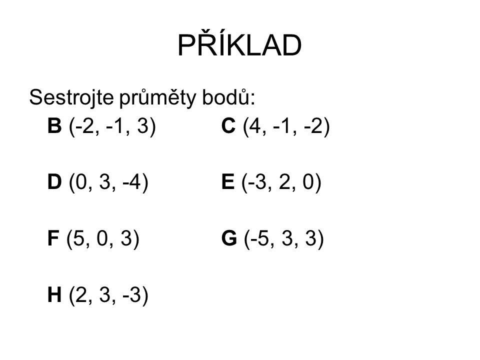 PŘÍKLAD Sestrojte průměty bodů: B (-2, -1, 3) C (4, -1, -2)