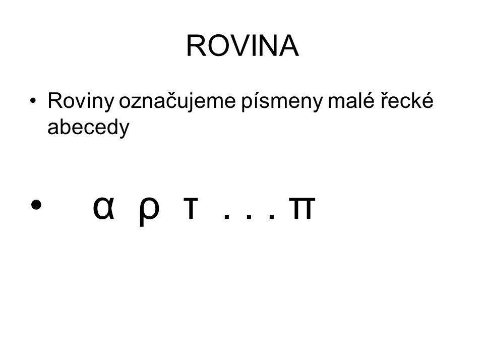 ROVINA Roviny označujeme písmeny malé řecké abecedy α ρ τ . . . π
