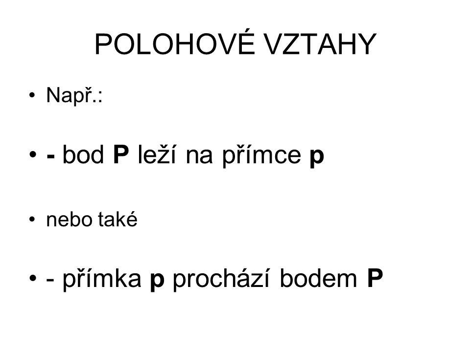 POLOHOVÉ VZTAHY - bod P leží na přímce p - přímka p prochází bodem P