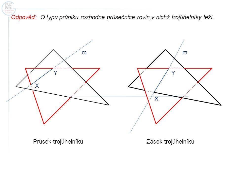 Odpověď: O typu průniku rozhodne průsečnice rovin,v nichž trojúhelníky leží.