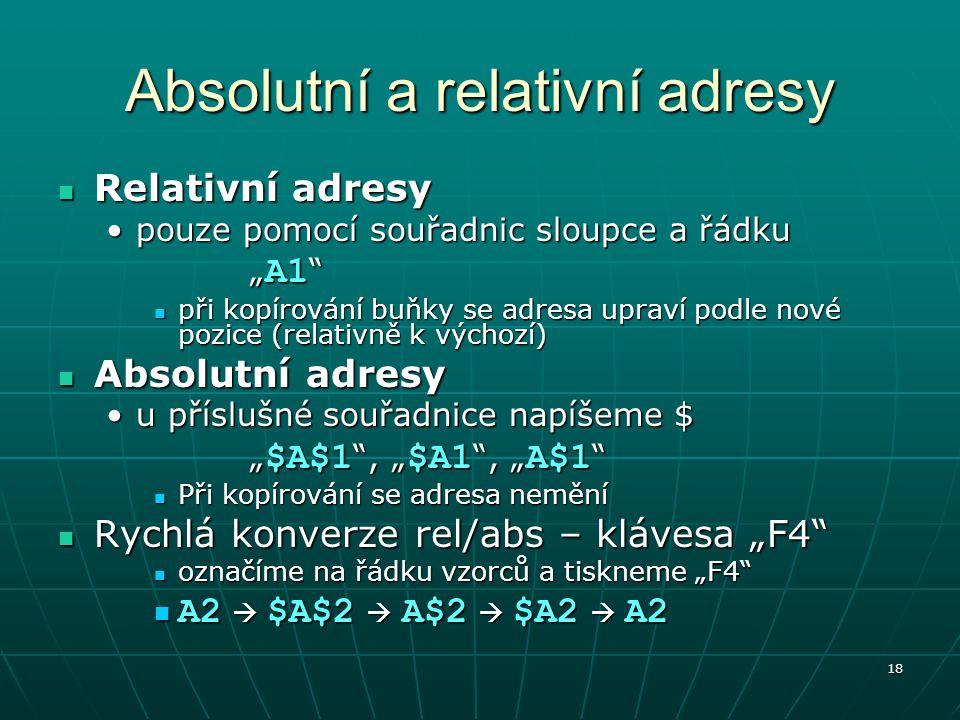Absolutní a relativní adresy