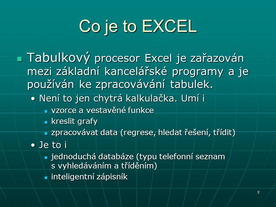 Co je to EXCEL Tabulkový procesor Excel je zařazován mezi základní kancelářské programy a je používán ke zpracovávání tabulek.