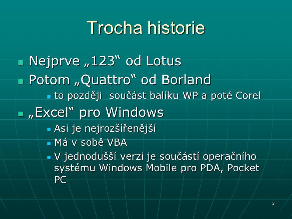 "Trocha historie Nejprve ""123 od Lotus Potom ""Quattro od Borland"