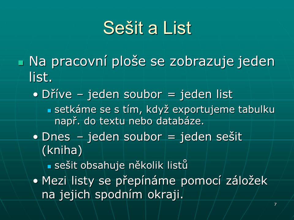 Sešit a List Na pracovní ploše se zobrazuje jeden list.