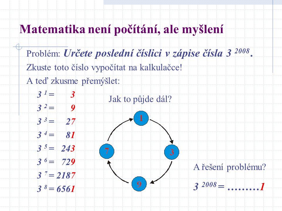 Matematika není počítání, ale myšlení