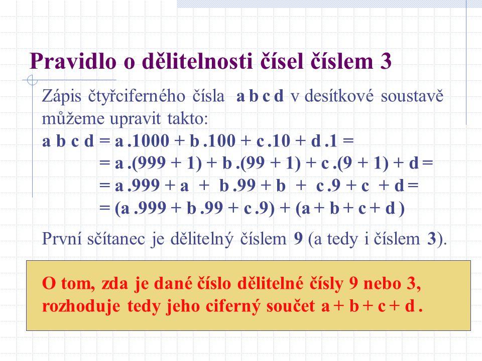 Pravidlo o dělitelnosti čísel číslem 3