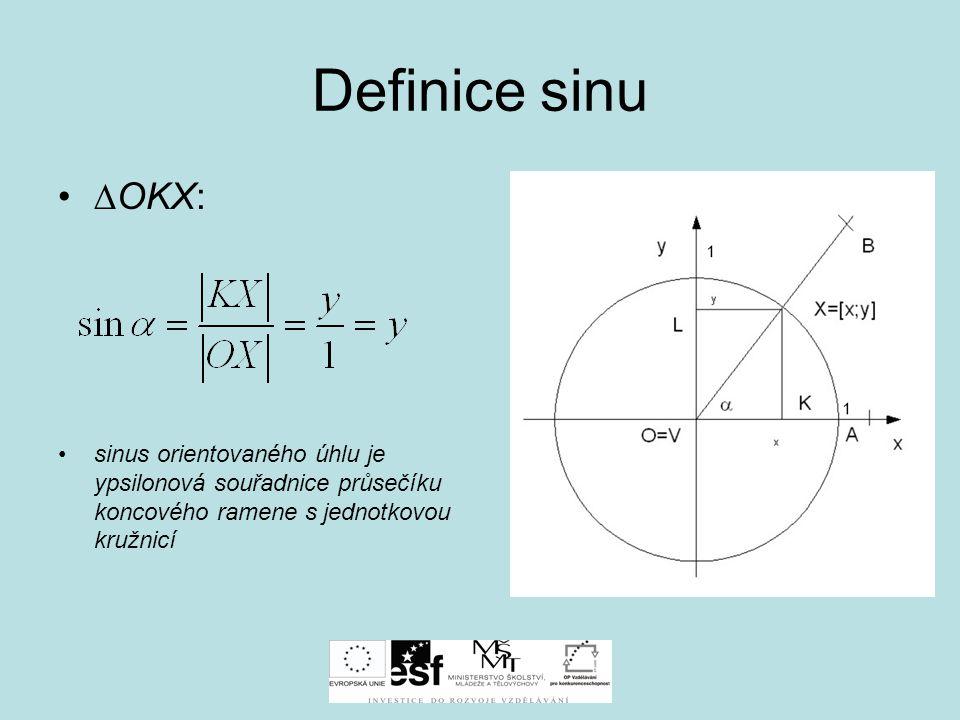 Definice sinu ∆OKX: sinus orientovaného úhlu je ypsilonová souřadnice průsečíku koncového ramene s jednotkovou kružnicí.