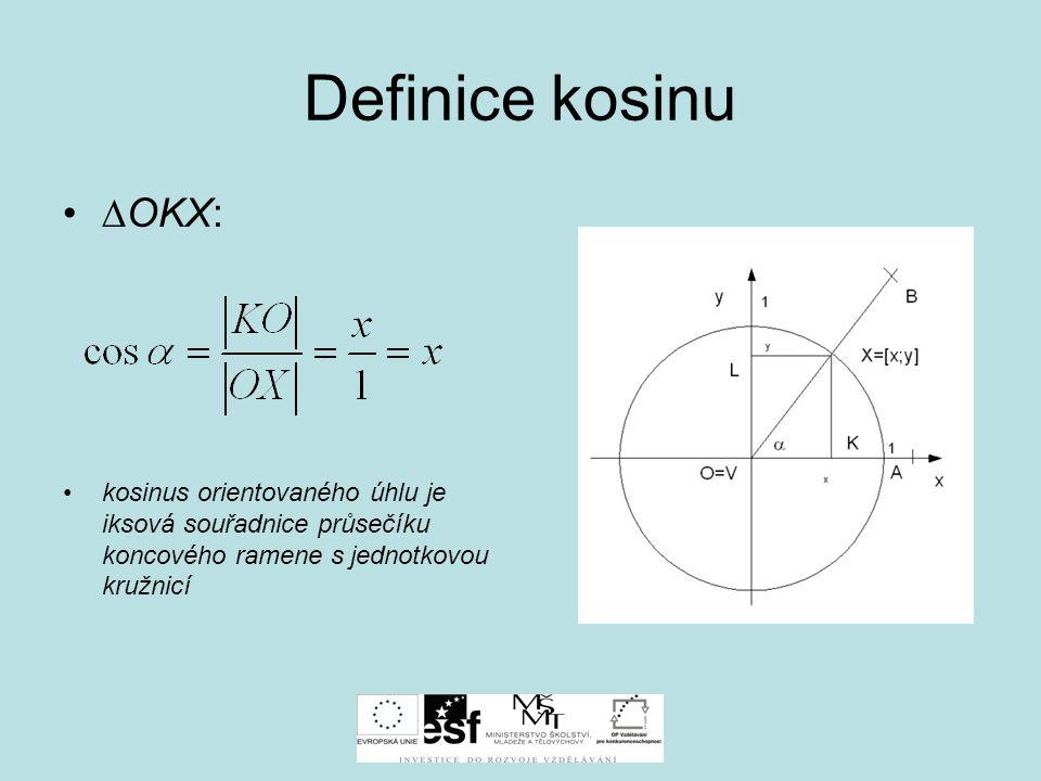 Definice kosinu ∆OKX: kosinus orientovaného úhlu je iksová souřadnice průsečíku koncového ramene s jednotkovou kružnicí.
