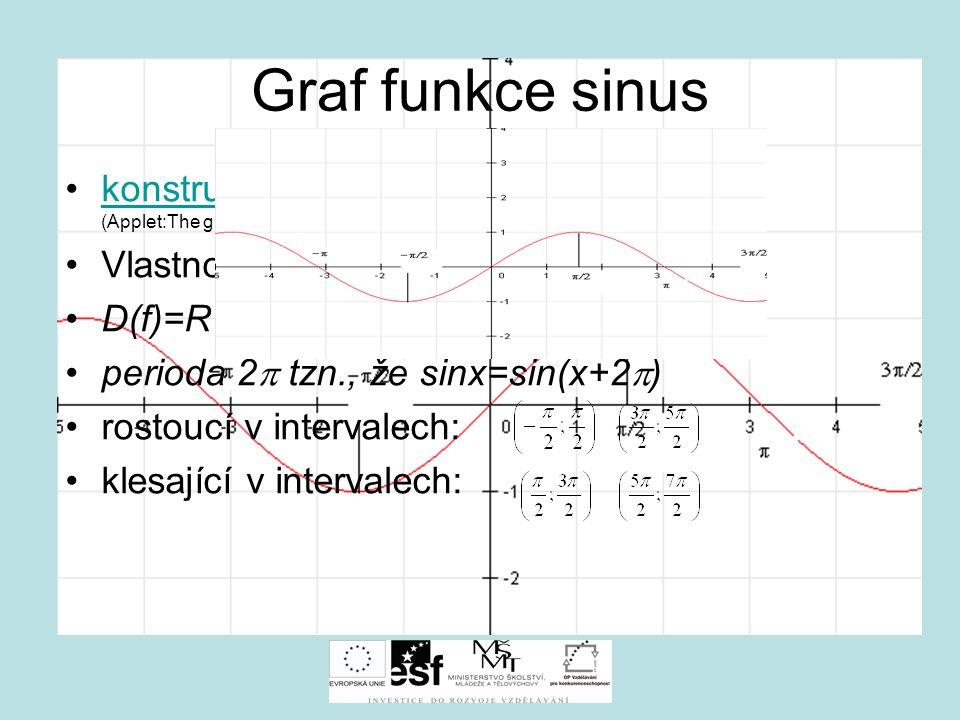 Graf funkce sinus konstrukce grafu funkce sinus (Applet:The graphs of sin, cos and tan) Vlastnosti funkce f: y=sin x.