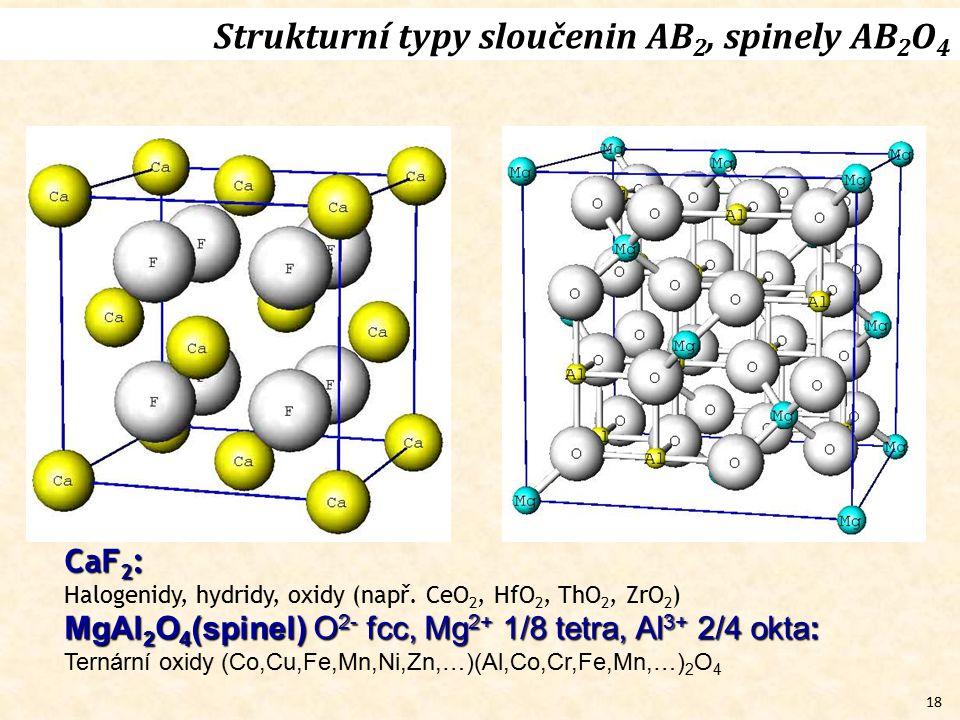 Strukturní typy sloučenin AB2, spinely AB2O4