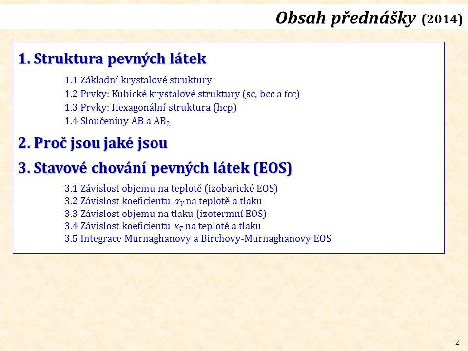 Obsah přednášky (2014) 1. Struktura pevných látek