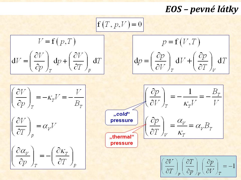 """EOS – pevné látky """"cold pressure """"thermal pressure"""