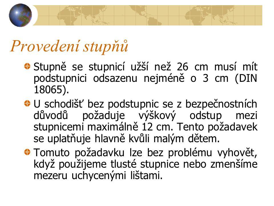 Provedení stupňů Stupně se stupnicí užší než 26 cm musí mít podstupnici odsazenu nejméně o 3 cm (DIN 18065).