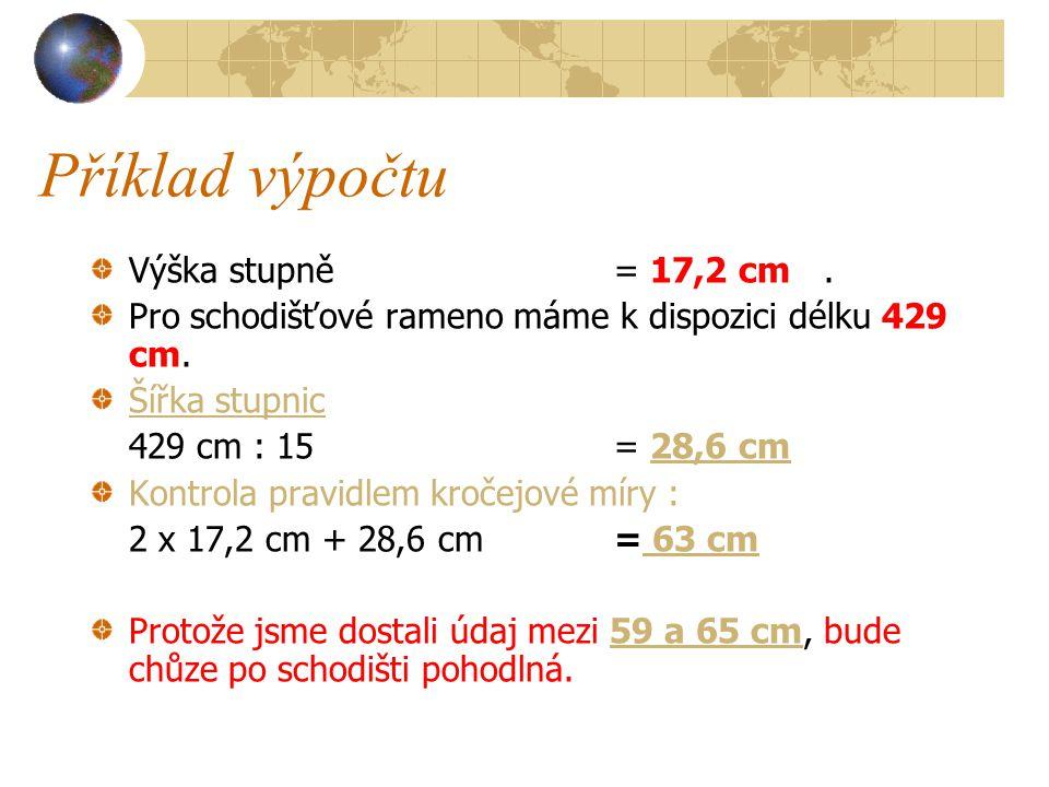 Příklad výpočtu Výška stupně = 17,2 cm .