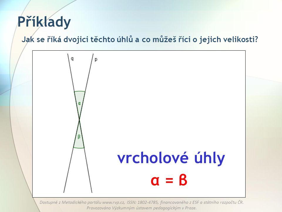 vrcholové úhly α = β Příklady