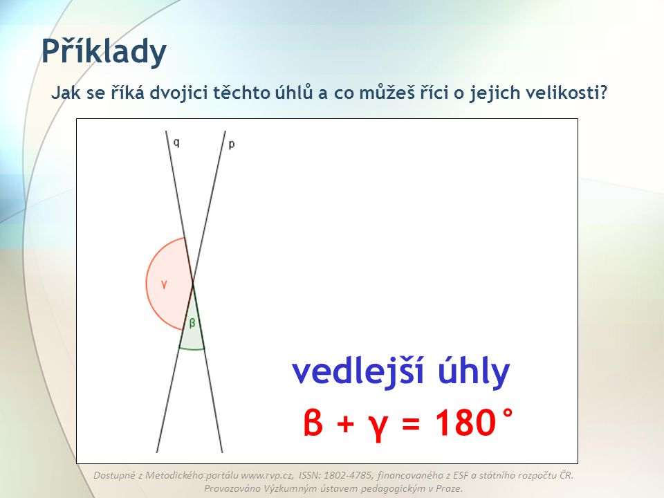 vedlejší úhly β + γ = 180° Příklady